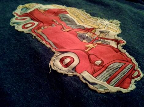 firetruck shirt DIY applique stitching