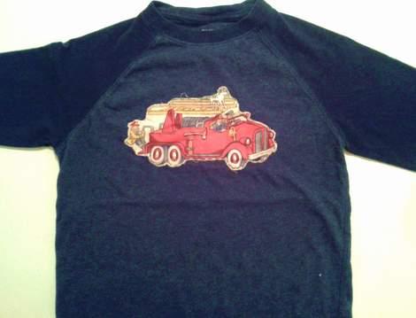 firetruck shirt DIY applique