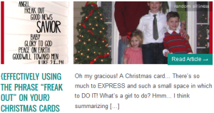 "LINK {effectively using the phrase ""freak out"" on your} Christmas Cards"