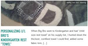 """LINK Personalizing Li'l Bro's Kindergarten Rest """"Towel"""""""