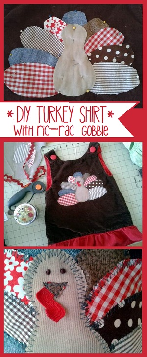 simple turkey shirt with ric-rac gobble