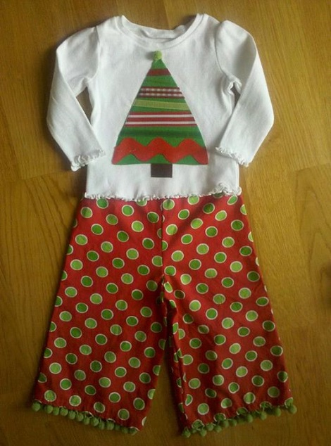DIY Christmas shirt and ruffle pants