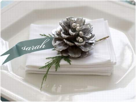 silver pinecone placecard