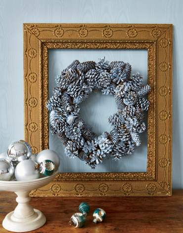 silver pinecone wreath round