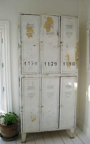 lockers weathered white