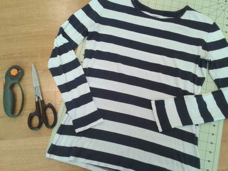striped shirt to kid pants upcycle 01 before