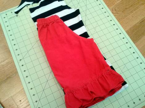 striped shirt to kid pants upcycle 04 existing pants