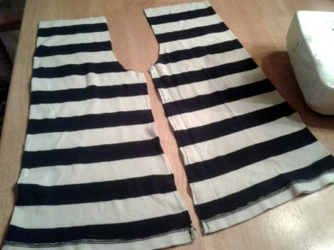 striped shirt to kid pants upcycle 08 sew right sides together