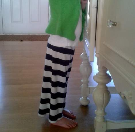 striped shirt to kid pants upcycle 12