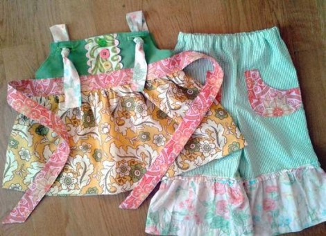 upcycled again knot top & ruffle pants