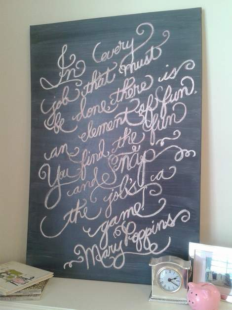 Mary Poppins DIY chalk art canvas 13