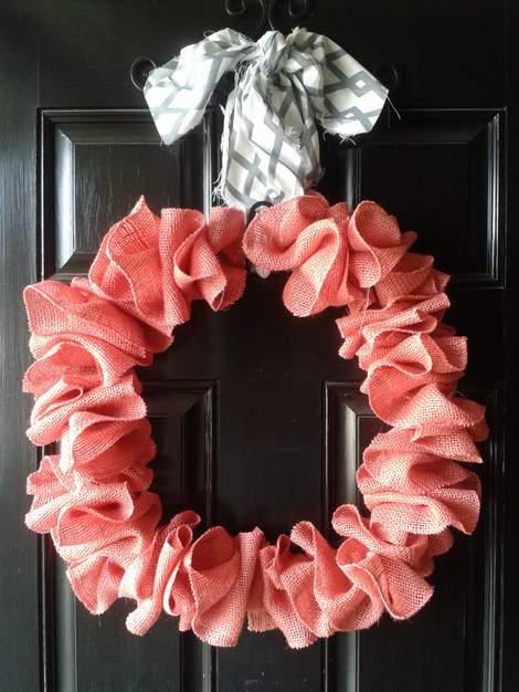 pink burlap wreath 10