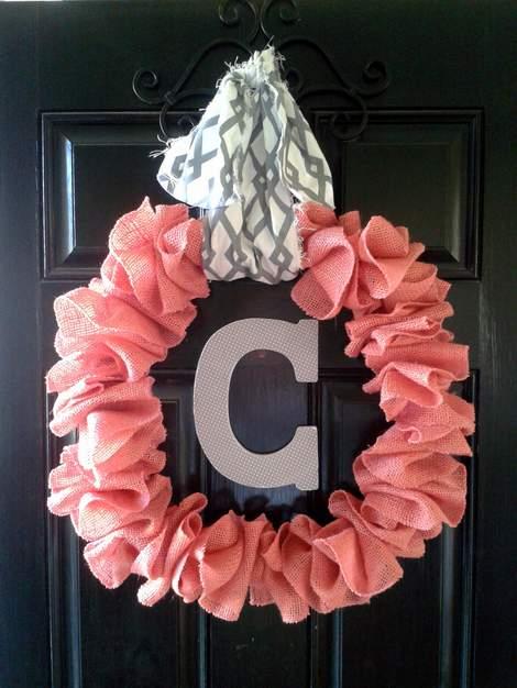 pink burlap wreath 11