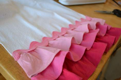 Valentine's Day ombre pink ruffle towel 11