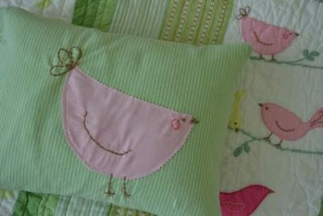 bird embroidered pillow 16'