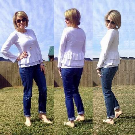 white t-shirt easy ruffle refashion makeover