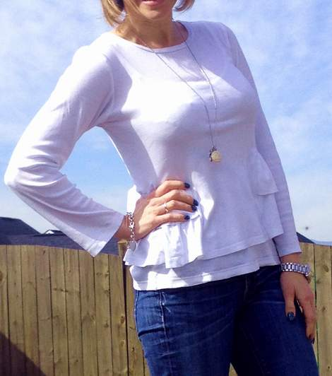 white t-shirt ruffle refashion 20