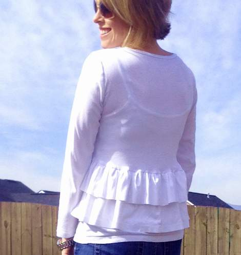 white t-shirt ruffle refashion 21'