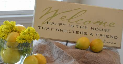 use what you've got tablescape--burlap, weeds, and lemons 07