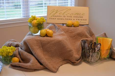 use what you've got tablescape--burlap, weeds, and lemons 11