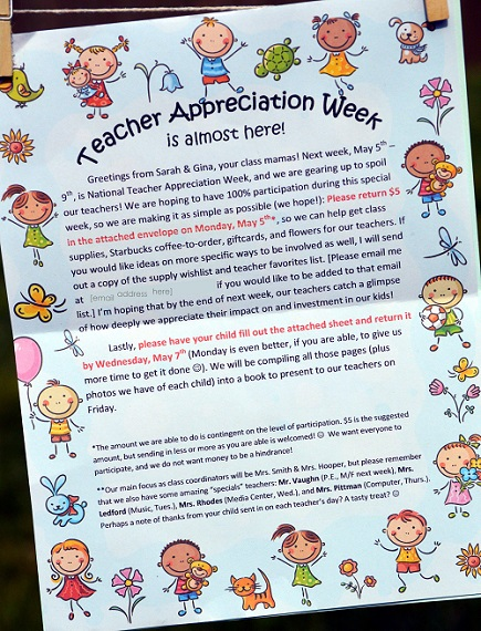 Teacher Appreciation Week letter home 01