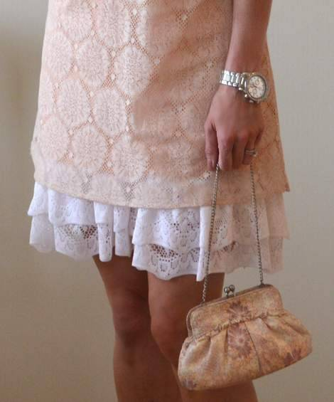 11 DIY ruffled lace slip skirt extender after detail
