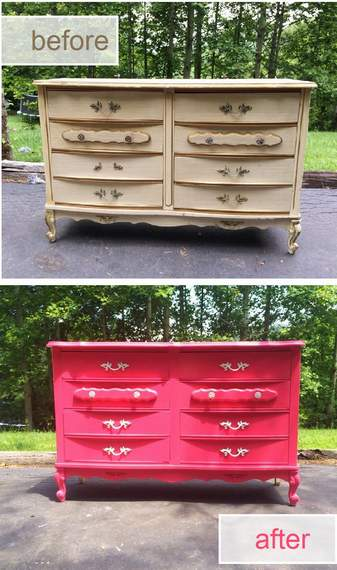 pink dresser makeover before and after