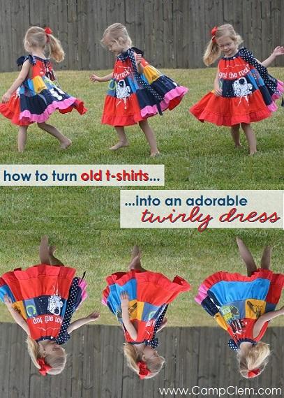 t-shirt quilt patchwork dress twirling
