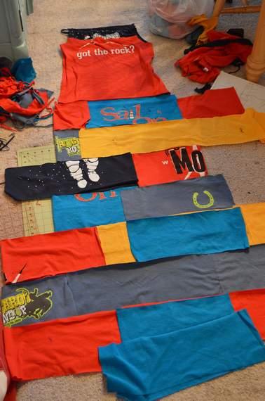 VBS shirt refashion t-shirt quilt patchwork maxi dress 07