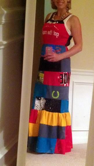 VBS shirt refashion t-shirt quilt patchwork maxi dress 12''
