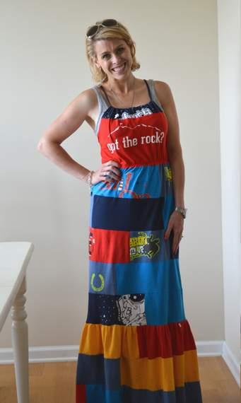 VBS shirt refashion t-shirt quilt patchwork maxi dress 13
