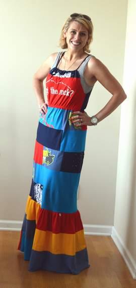 VBS shirt refashion t-shirt quilt patchwork maxi dress 14
