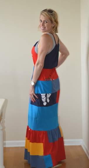 VBS shirt refashion t-shirt quilt patchwork maxi dress 15