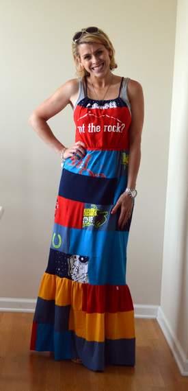 VBS shirt refashion t-shirt quilt patchwork maxi dress 16