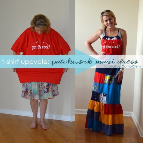 VBS shirt refashion t-shirt quilt patchwork maxi dress before and after