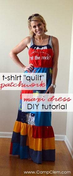 VBS shirt refashion t-shirt quilt patchwork maxi dress