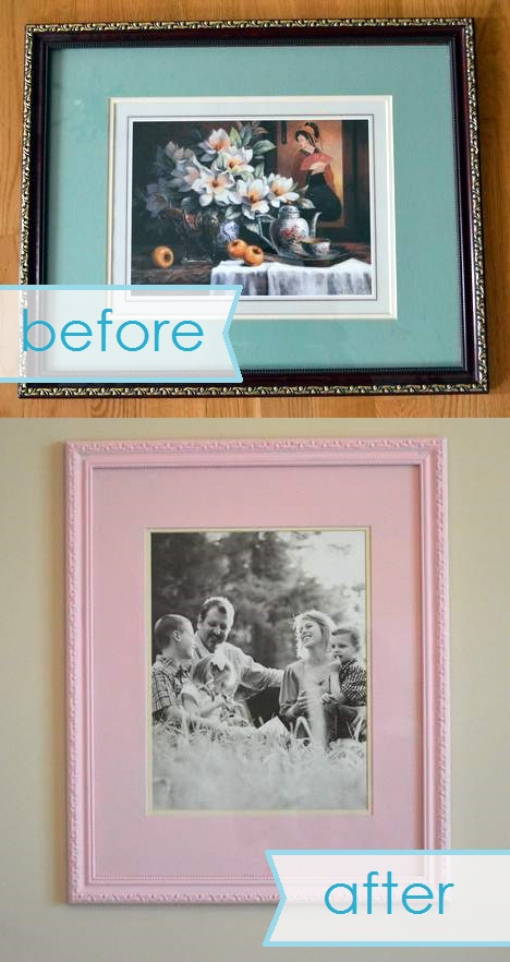 chunky pink frame makeover before and after