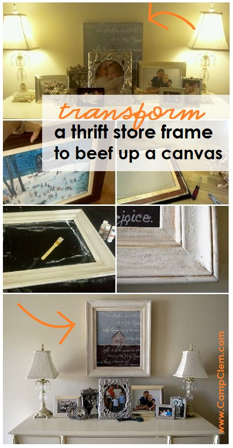 foyer canvas thrift store frame makeover before and after