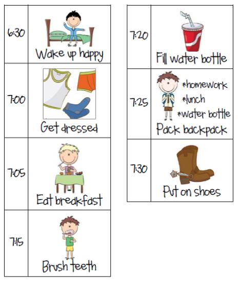 2014 morning schedule school routine