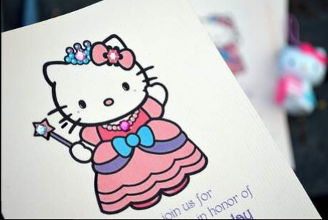 DIY hello kitty princess birthday party invitations 02