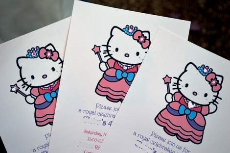 DIY hello kitty princess birthday party invitations 03