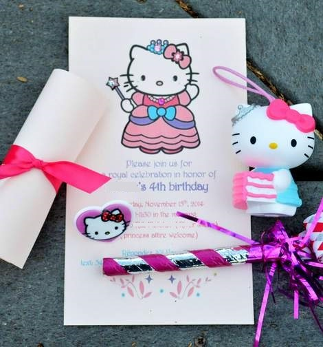 DIY hello kitty princess birthday party invitations 05