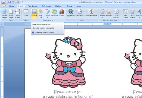 DIY hello kitty princess birthday party invitations 09