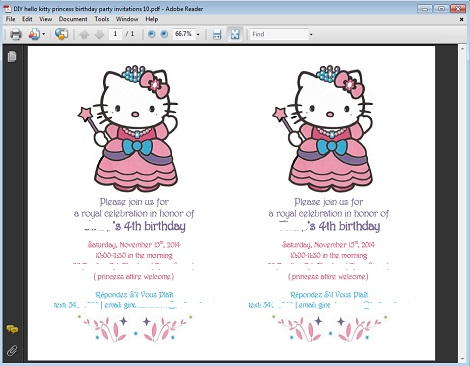 DIY hello kitty princess birthday party invitations 10