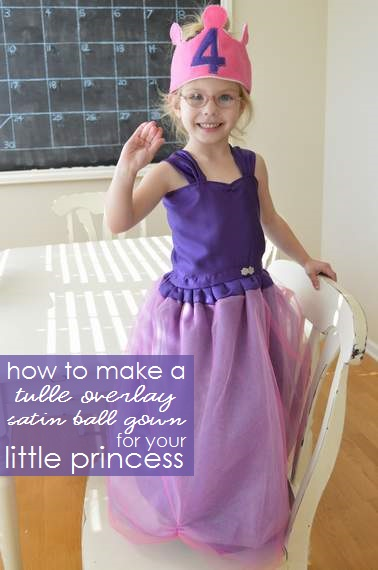 how to make a simple purple princess tulle overlay satin ball gown without a pattern