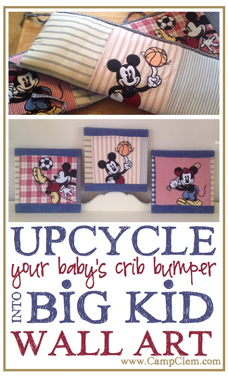 mickey crib to art- upcycle old baby bumper into big kid room canvas art