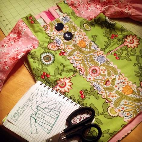 mixed prints square neck dress 09